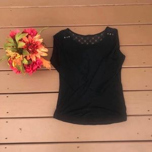 Express Black Quarter Length Sleeve Top with Lace